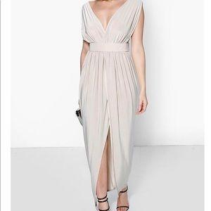 Tan drape maxi dress with front split
